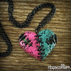 Split Zombie Heart Necklace $22.00 Love this necklace