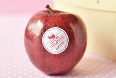 Make custom stickers and stick to an apple. Perfect! Thanks One Hungry Mama