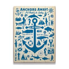 Blue anchor silhouette and other nautical elements like whales, mermaids, sailboats, sea shells, seahorses and crabs. Can be personalized with location. Art by Anderson Design Group.