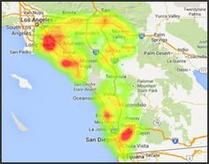 Distribution of Bee Removal Service Inquires to Household Ratio in Southern California. Heat map illustrates probability of bee problem in 2013. Number of household statistics credited to USDA.