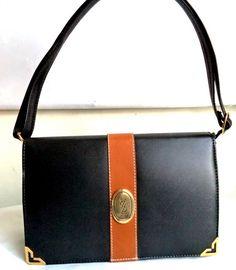 0a2b5e0dfaf8fb YSL 80s Leather Clutch Bag Convertible Black Tan Logo Satchel Shoulder Bag  Structured Purse