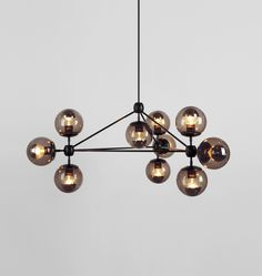 Roll & Hill Modo Chandelier - 3 Sided, 10 Globes (Black/Smoke) (=)