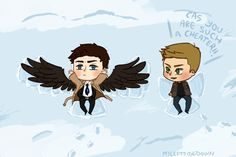 This is TOO CUTE!!!!!!!   Supernatural: Snow Angels (Where Cas is a cheater) by Tehshi.deviantart.com