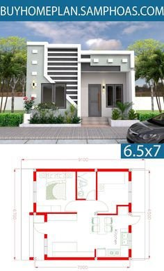Simple House Plan with Two Bedrooms Feet - Samphoas.Com cabane Modern House Floor Plans, Simple House Plans, My House Plans, Home Design Floor Plans, Duplex House Plans, Modern Small House Design, Simple House Design, House Front Design, Dream Houses
