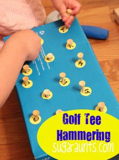 Fine motor alphabet play with golf tees. By Sugar Aunts