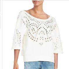 Free People cutout pullover -NWT-size XS Free People cutout sweatshirt-NWT-size XS. Leafy cut outs add a natural touch to this cotton pullover. Elbow-length sleeves with frayed cuffs. Perfect for that fun, flirty look! Free People Tops