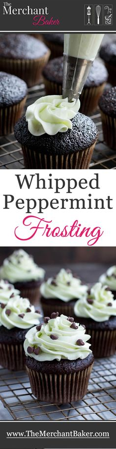 Whipped Mint Frosting. A creamy, not too sweet, buttercream. A cooked flour mixture is the magic behind this fluffy delicious minty frosting!