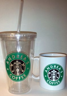 Personalized StarbucksLike Coffee Cup or Tumbler by PlushBrentwood, $10.00