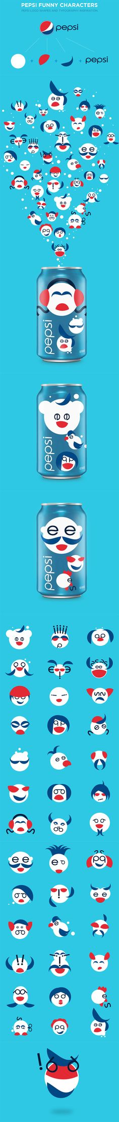 IInspired by the pepsi logo shape & colors, Hugo Silva, a graphic designer and illustrator from Lisbon (Portugal), decided to create diversified and funny characters out of it. It's an creative, alternative way to represent the well known brand -CB