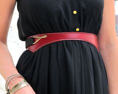 Red Elastic Leather Belt / Women Wide Bold High Waist Statement Belt / Red gift for her