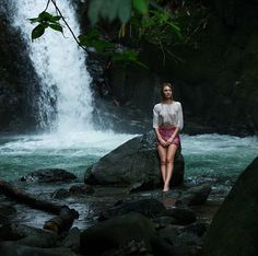 Candice Swanepoel had a terrible time by a waterfall in Costa Rica.