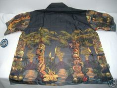 "New Mens Rick RIETVELD XL ""Tiki Palms"" Black Button Down Camp Shirt$62 Last Unit | eBay"