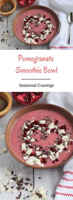 Pomegranate Smoothie Bowl - This Pomegranate Smoothie Bowl is full of healthy seasonal goodies to stave off those sweet cravings.  It's naturally sweetened with the delicious flavor of pomegranate. {vegan, gluten-free, paleo}