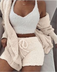 Fluffy Hooded Open Front Teddy Coat & Short Sets Fluffy Hooded Open Front Teddy Coat & Short Sets The post Fluffy Hooded Open Front Teddy Coat & Short Sets appeared first on Kleidung ideen. Mode Outfits, Casual Outfits, Fashion Outfits, Cute Lounge Outfits, Fall Outfits, Dress Casual, Dress Outfits, Peplum Dresses, Jackets Fashion