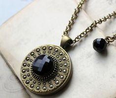 Jet Black Beauty Antique Button Necklace  Jet Black by veryDonna, $86.00
