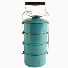 Blue enamel tiffin