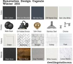 Idea Sex: A Capsule Wardrobe for The Home — FlippinWendy Design - Renovation Design Capsule: Winter 2016 Diy Interior, Interior Design Boards, Interior Design Kitchen, Mood Board Interior, Interior Decorating, Renovation Design, Home Renovation, Home Remodeling, Paint Colors For Home