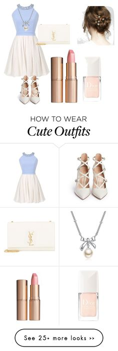 """Cute outfit"" by dgracen on Polyvore featuring Gianvito Rossi, Yves Saint Laurent, Charlotte Tilbury, MBLife.com and Christian Dior"