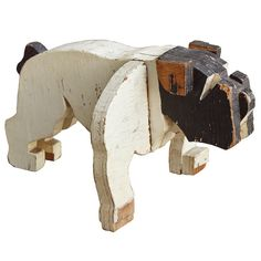c. 1930s American folk art wooden bulldog sculpture.