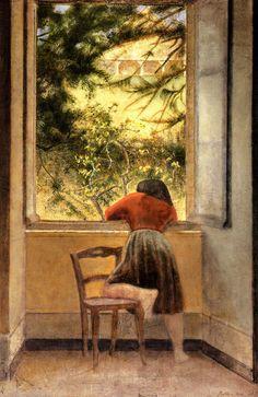Balthus, menina por uma janela, óleo sobre tela, 1955