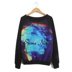 $7.78 Night Sky Pattern Loose-Fitting Cotton Blend Color Matching Sweater For Women