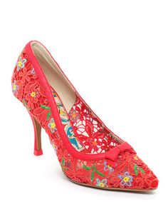 newest e6bbf 8e559 Red Lace Embroidered Dame Pump by Miss L Fire