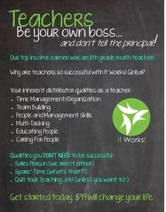 Great side job for teachers!!  this business doesn't take a lot of extra time if you can talk to people about it when you are out and about!  that's exactly what i do!  everyone knows people who would be interested in these products!  such a great way to make extra money in your everyday life!    http://tawnywohlers.myitworks.com