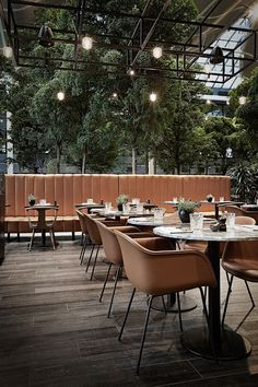 Interior design of Restaurant BARK at Crowne Plaza Hotel Copenhagen. The restaurant is placed in between the hotel and Copenhagen Towers with its beautiful indoor forrest. Photos by Kristine Funch.