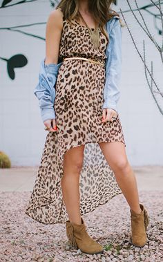 leopard high-low maxi dress with a guy's chambray shirt and tan fringe booties