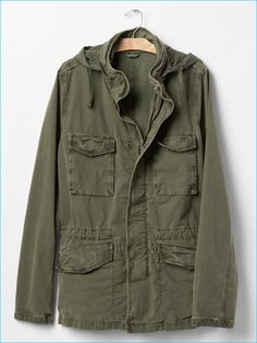 Gap Men's Hooded Fatigue Jacket in Army Green