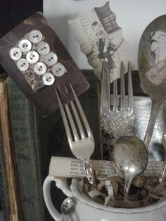 Forks used in a display.