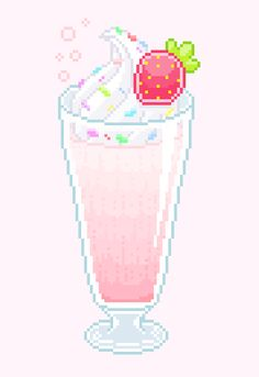 """milk-a-la-fraise: """" someone suggested a strawberry sundae  it's the first time that i try something like this but i think it turned out ok :') """""""