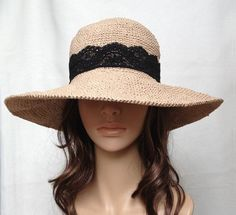 PDF pattern-crocheted hat no. H450A, rayon raffia hat, straw hat, sun hat, cotton hat. $4.50, via Etsy.