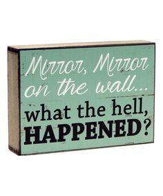 Blue 'Mirror, Mirror' Wood Box Sign