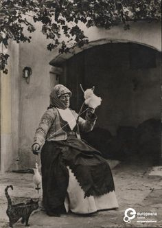 Postcard B/W photo of a woman spinning wool with interested cat - Megara, Greece. Old Pictures, Old Photos, Greek Traditional Dress, History Of Photography, People Photography, Spinning Wool, Greek Design, Greek History, Greek Culture
