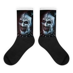 These socks are extra comfortable thanks to their cushioned bottom. The foot is black with artwork printed along the leg with crisp, bold colors that won't fade. Joker Poster, Cool Socks, Awesome Socks, Evil Clowns, Us Man, Artwork Prints, Bold Colors, Cute Animals, Cold