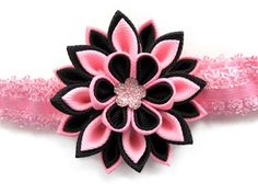 Baby Headband with Kanzashi fabric flower. Colors by KatyaFantasy, $12.00