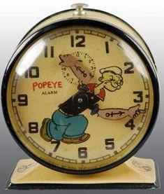 , A circa 1932, metal Popeye alarm clock.