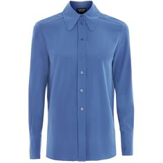 TopShop '70s Collar Long Sleeve Shirt ($30) ❤ liked on Polyvore featuring tops, blue, blue long sleeve top, blue top, topshop shirts, retro tops and blue shirt