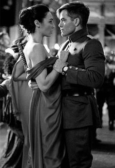 Chris Pine as Steve Trevor and Gal Gadot as Diana Prince