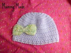 preemie hat ~ Bow: 1. (with contrasting color and 3.5mm hook) ch13, hdc in 2nd ch from hook and across (12) 2-11. ch1, turn, hdc in 1st st and across (12) 12. fold in half length-ways and sew together to form a rectangle, pinch the middle and wrap spare yarn around tightly to gather, sew on to the hat where you want it.
