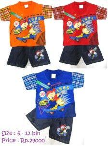 Stelan DONALD SKATING    Stelan bayi kaos dan celana denim    Size 6 – 12 bulan    Price Rp.29.000 Reseller Rp.25000    inbox 0852 2507 2921
