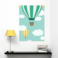 Summer #poster of a air balloon in the sky with clouds