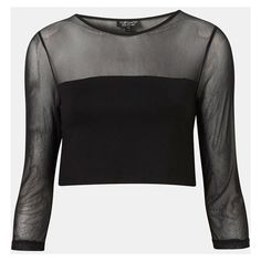 Topshop Mesh Yoke Crop Top (891.040 VND) ❤ liked on Polyvore featuring tops, shirts, crop tops, cropped, topshop shirt, yoke shirt, shirt crop top, gothic tops and shirt tops