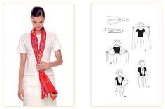 """Este nudo """"Scarf Loop"""" puede hacerse con un Maxi-Twilly. ¡Juegue con su carré Hermès usando la aplicación Silk Knots! #Hermes #Silk #SilkKnots #Hermes #Silk #SilkKnots"""