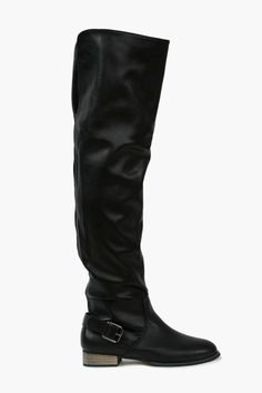 8460953ab039 Sexy Black Leather Over-The-Knee Boots