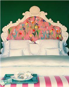 LOVE This Floral Headboard With Ornate White Frame + Crisp Linens + Pink & White Cabana Stripe