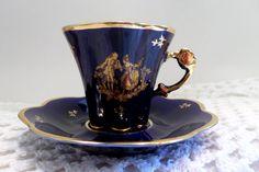 Vintage Limoges Demitasse Set. Teacup and Saucer. Cobalt