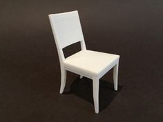 Dining Chair 1:12 scale in White Strong & Flexible