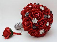 Reserved Red Roses & Rhinestones Bridal by SongsFromTheGarden